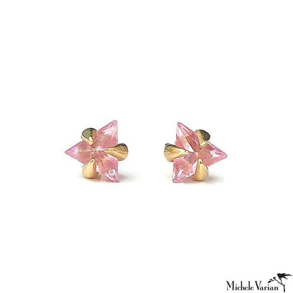 Trillion Pink Sapphire Stud Earrings