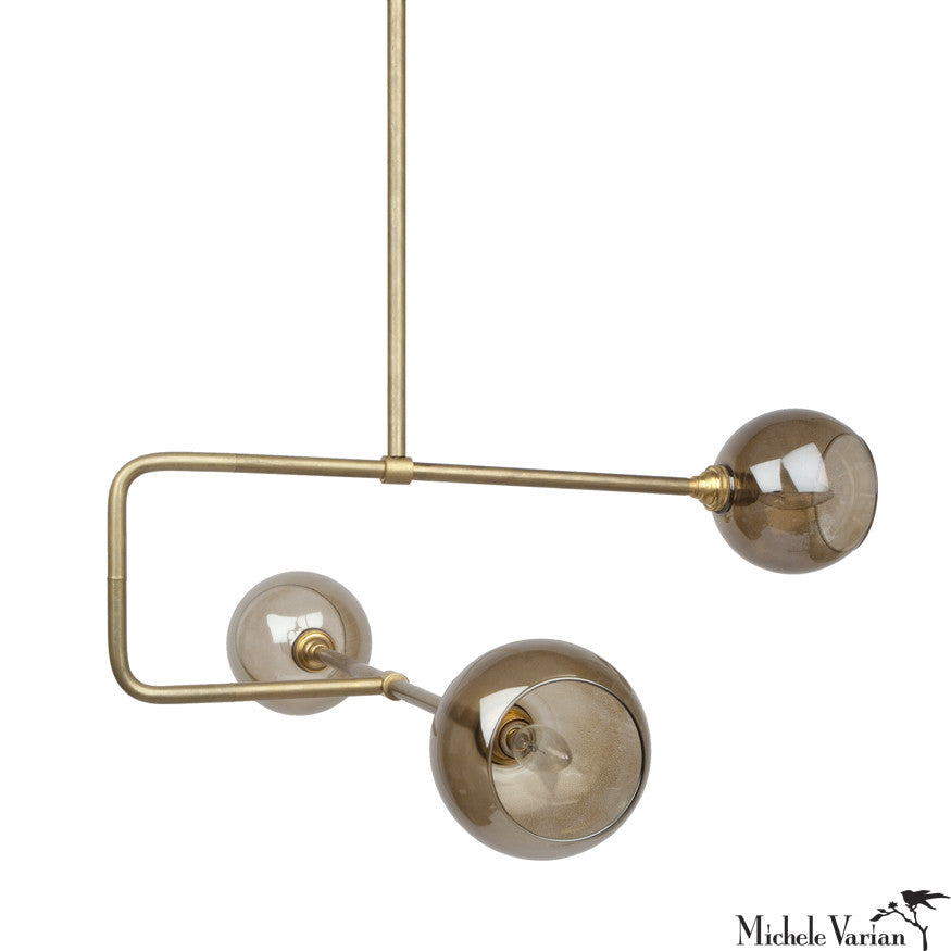 Glass Globe Triple Circuit Chandelier Light Fixture in Brass