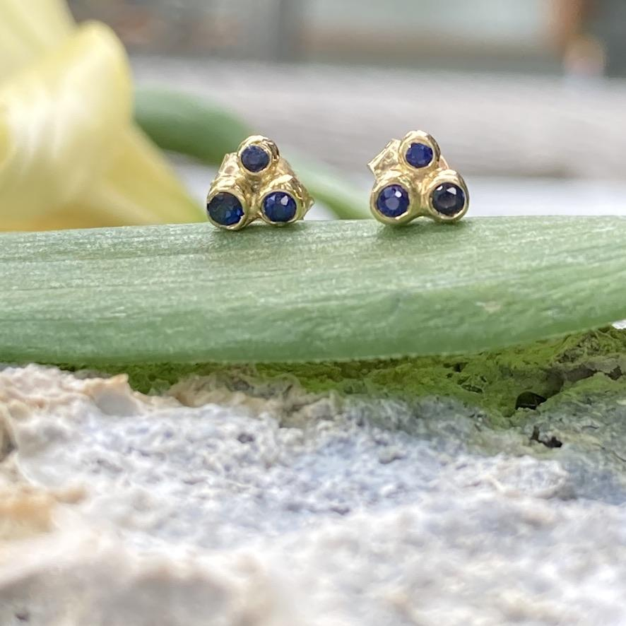 Triple Constellation Sapphire Stud Earrings