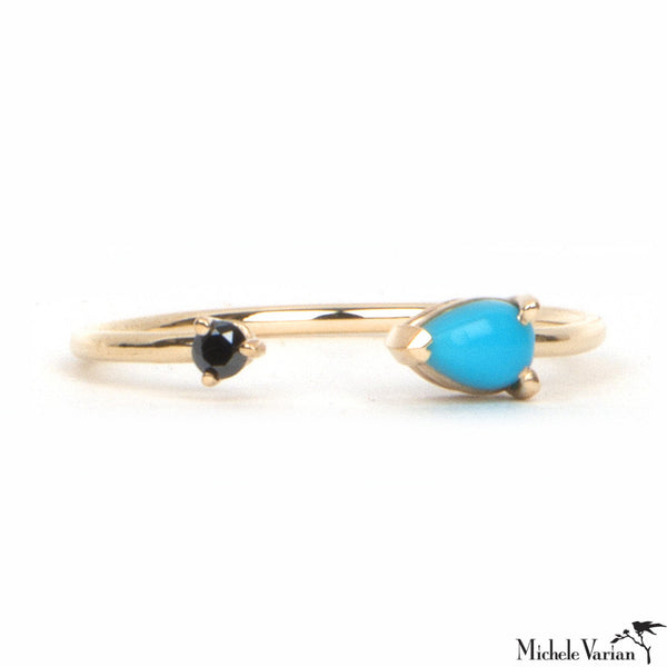 Gold Turquoise and Black Diamond Open Ring
