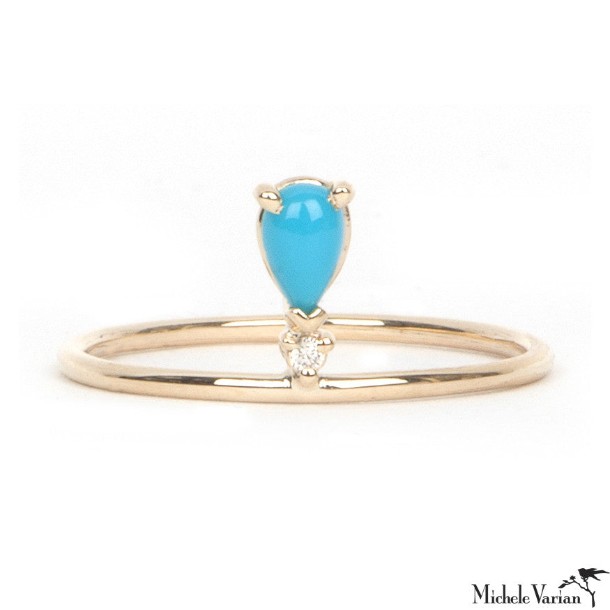 Gold Turquoise and Diamond Ring
