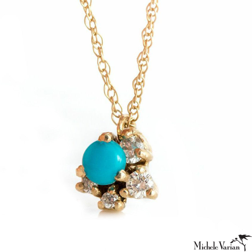 Gold Turquoise and Diamond Necklace
