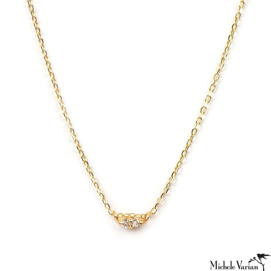 Tiny Twin Diamond Gold Necklace