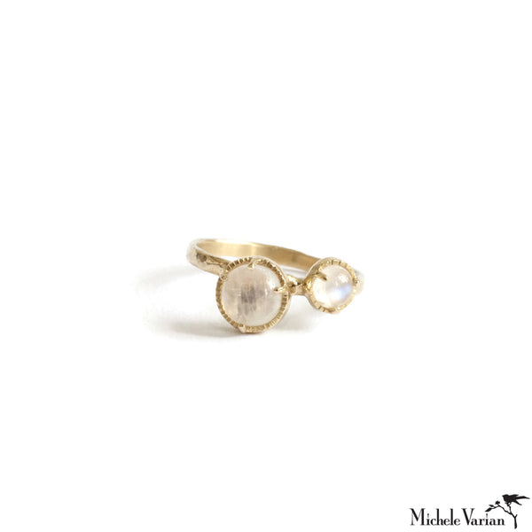 Twin Moon Stone Gold Ring