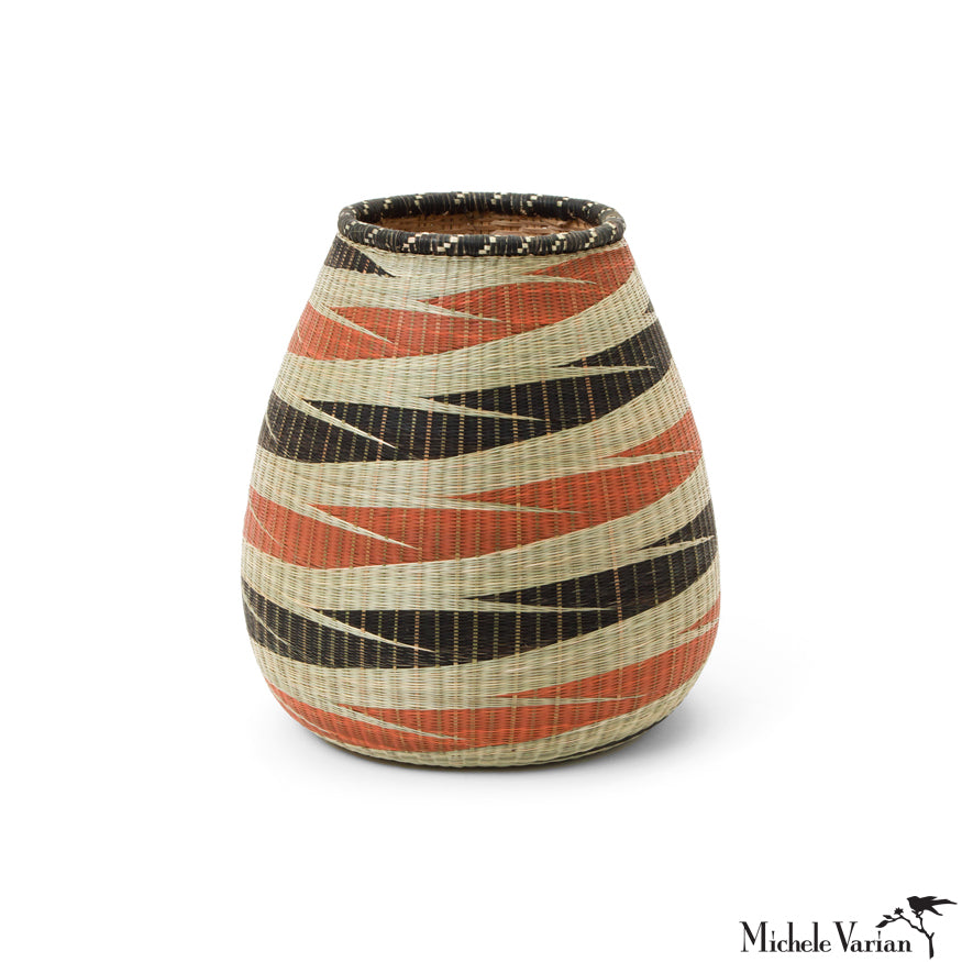 Huye Woven Bamboo and Papyrus Squat Vessel