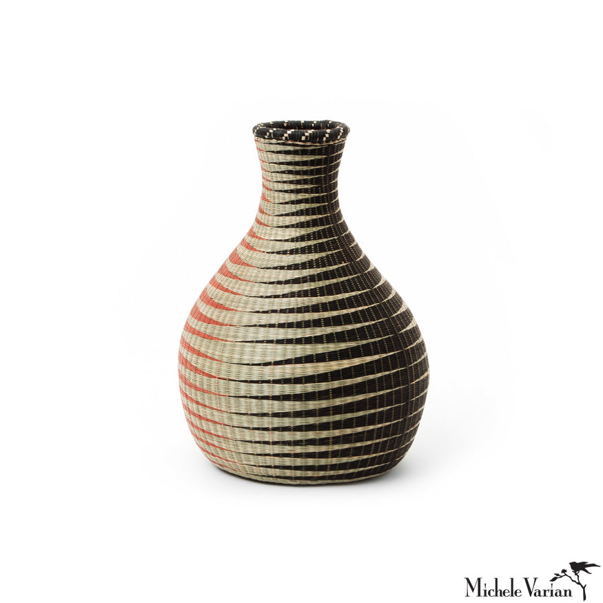 Huye Woven Bamboo and Papyrus Bulb Shape Vessel