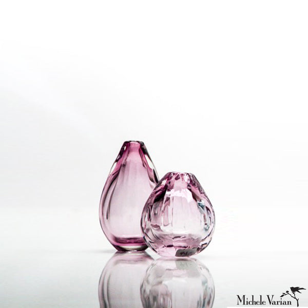 Modern Glass Vase Mauve Short