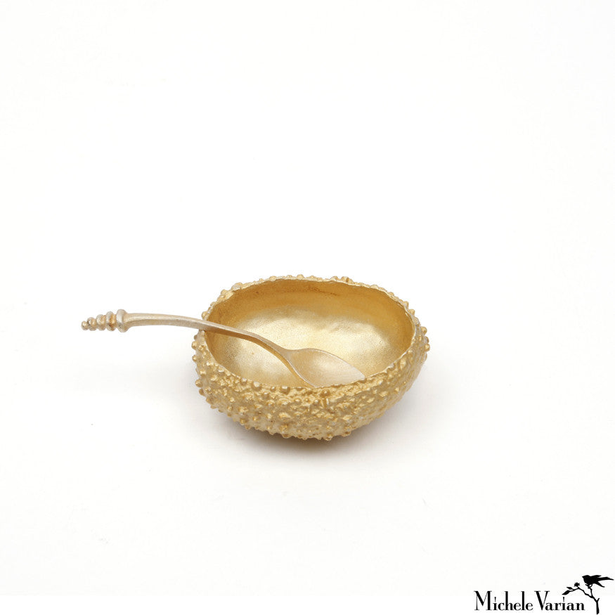 Tiny Gold Urchin Salt Cellar and Spoon