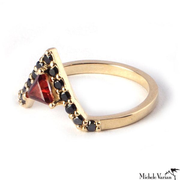 Black Sapphire and Garnet Nova Gold Ring