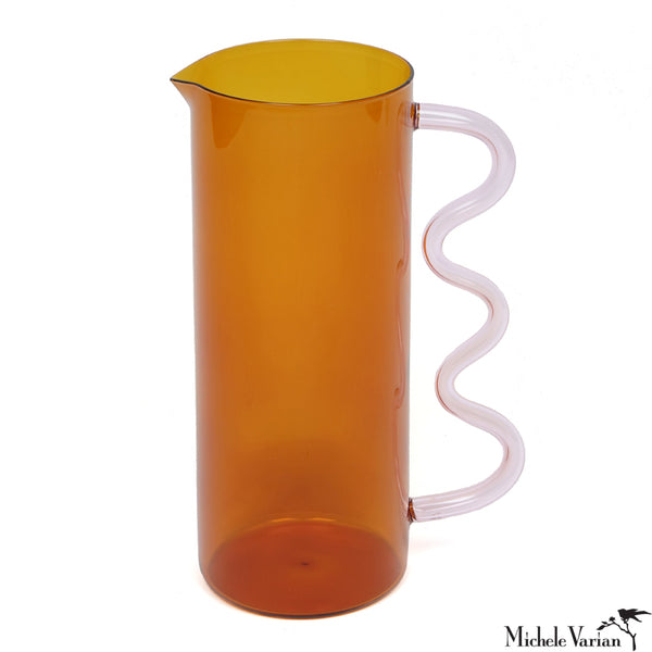 Amber Wave Pitcher with Pink Handle