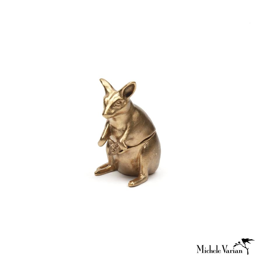 Gold Tiny Wallaby Salt Cellar with Spoon