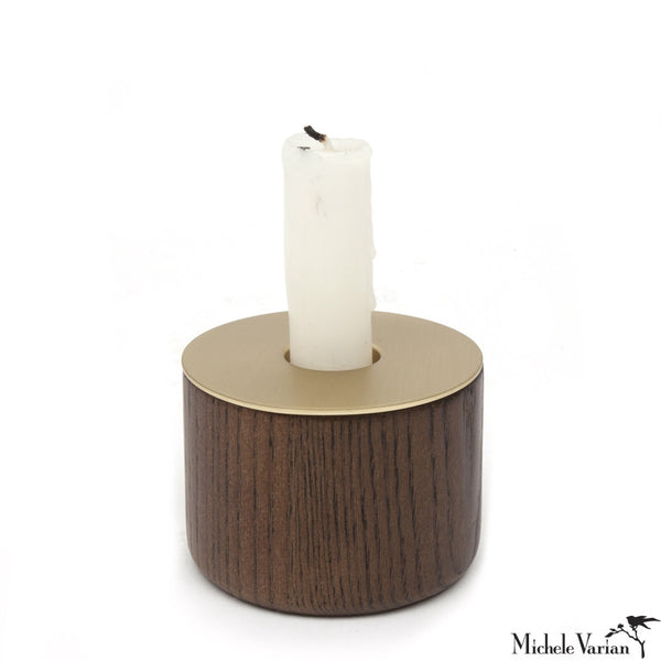 Wood Chunk and Brass Finish Candleholder