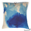 Printed Linen Pillow Wash Blue 22x22