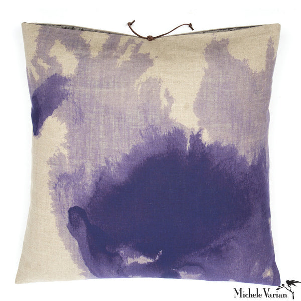 Printed Linen Pillow Wash Lilac 22x22
