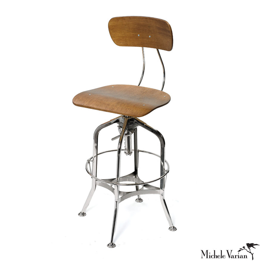 Delightful Retro Industrial Wood And Steel Lab Chair, Counter Or Bar Stool
