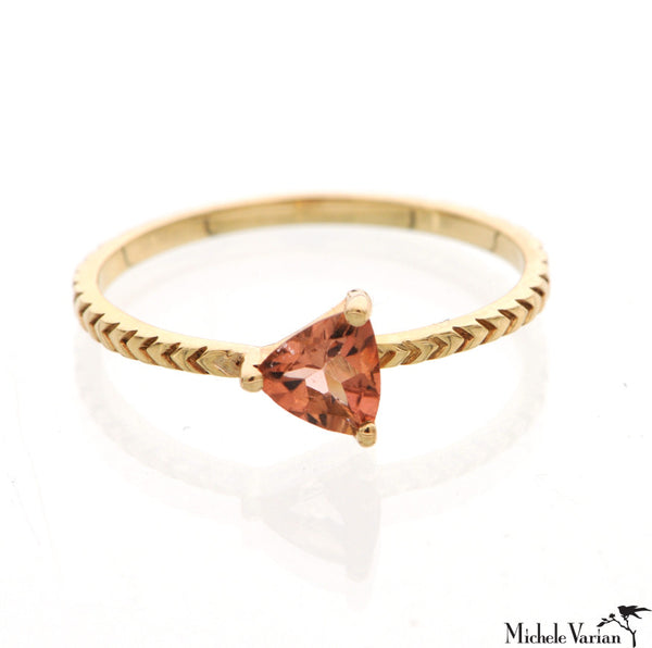 Gold and Watermelon Tourmaline Ring