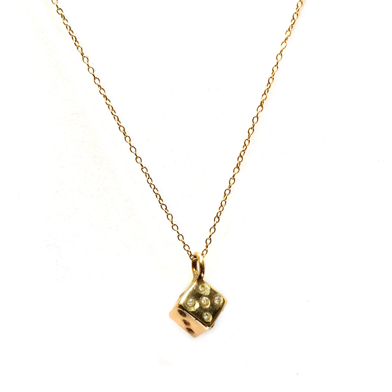 Gold Dice Necklace White Diamonds
