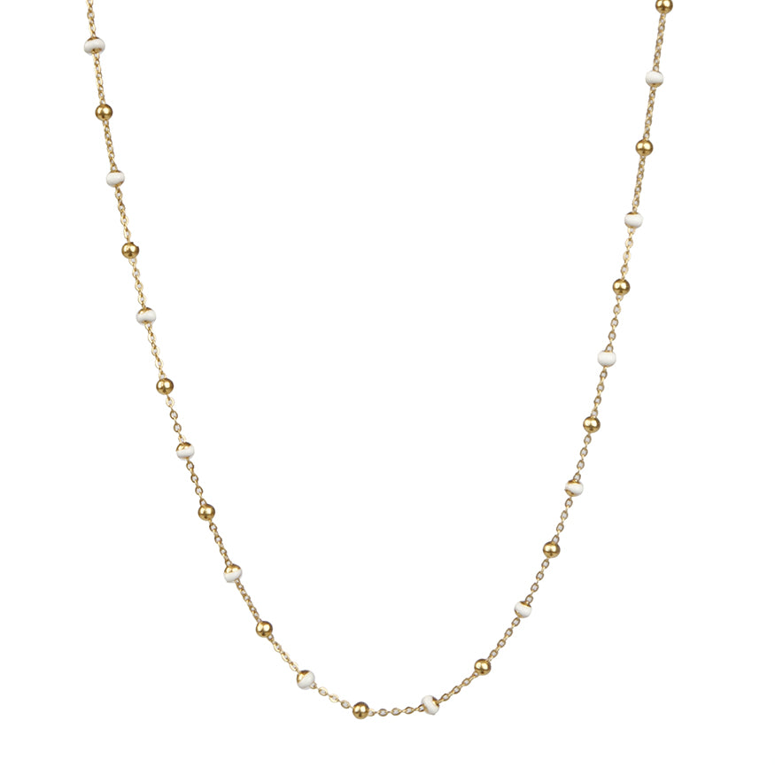 White Enamel Gold Chain Necklace