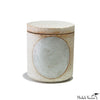 Small White Glazed Full Moon Stoneware Jar