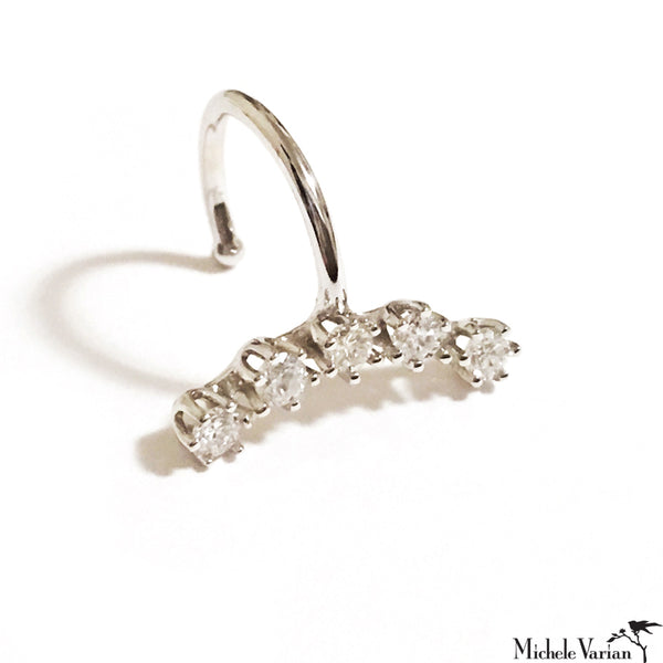 White Gold Diamond Arch Cuff Earring