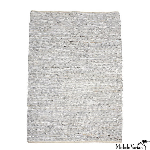 Pearl Grey Leather Rug