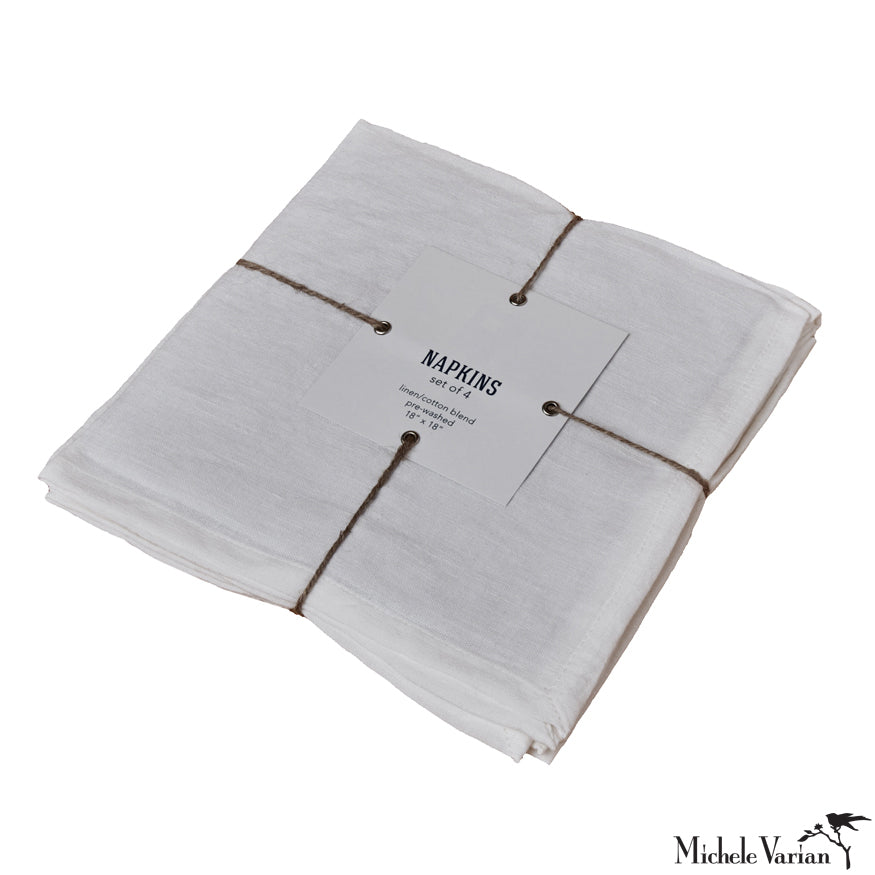 White Linen Napkins Set of 4