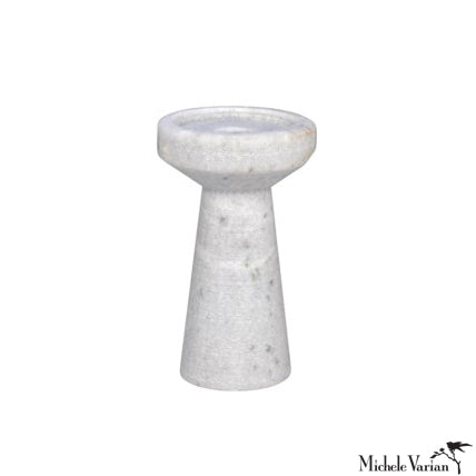 White Marble Candle Holder Short