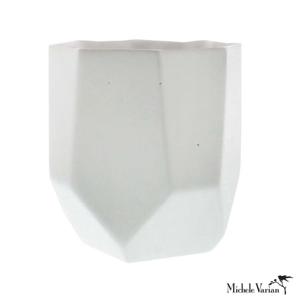 Large Matte White Faceted Ceramic Vase