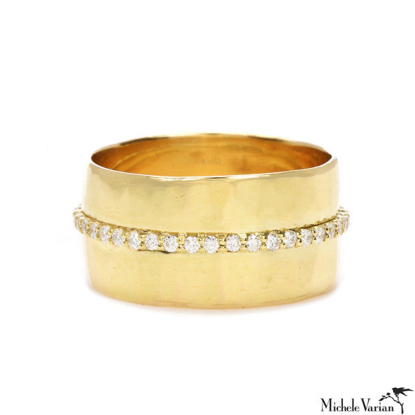 Wide Hammered Gold Eternity Band