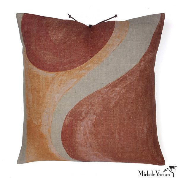 Printed Linen Pillow Winding Sienna Blush 20x20