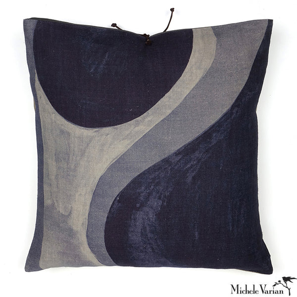 Printed Linen Pillow Winding Slate 20x20