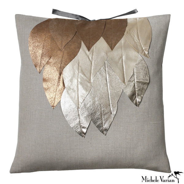 Linen Applique Pillow Wing Gold 22x22