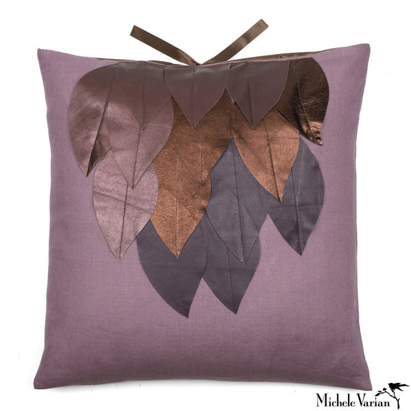 Linen Applique Pillow Wing Mulberry 22x22