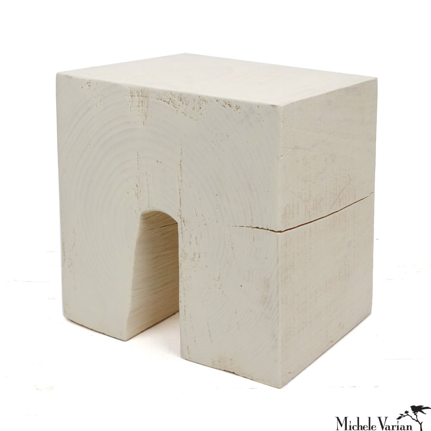 White Wooden Tunnel Stool