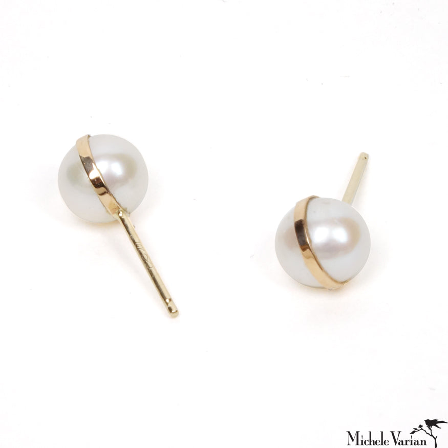 Gold Pearl Post Stud Earrings