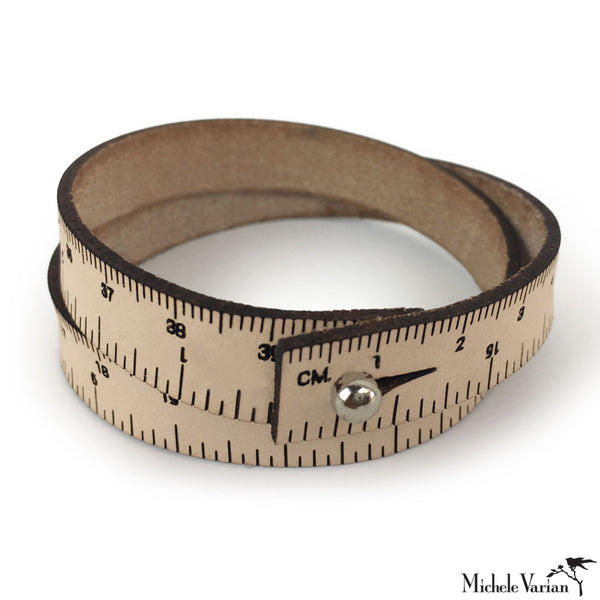 Natural Leather Ruled Wristband - X15