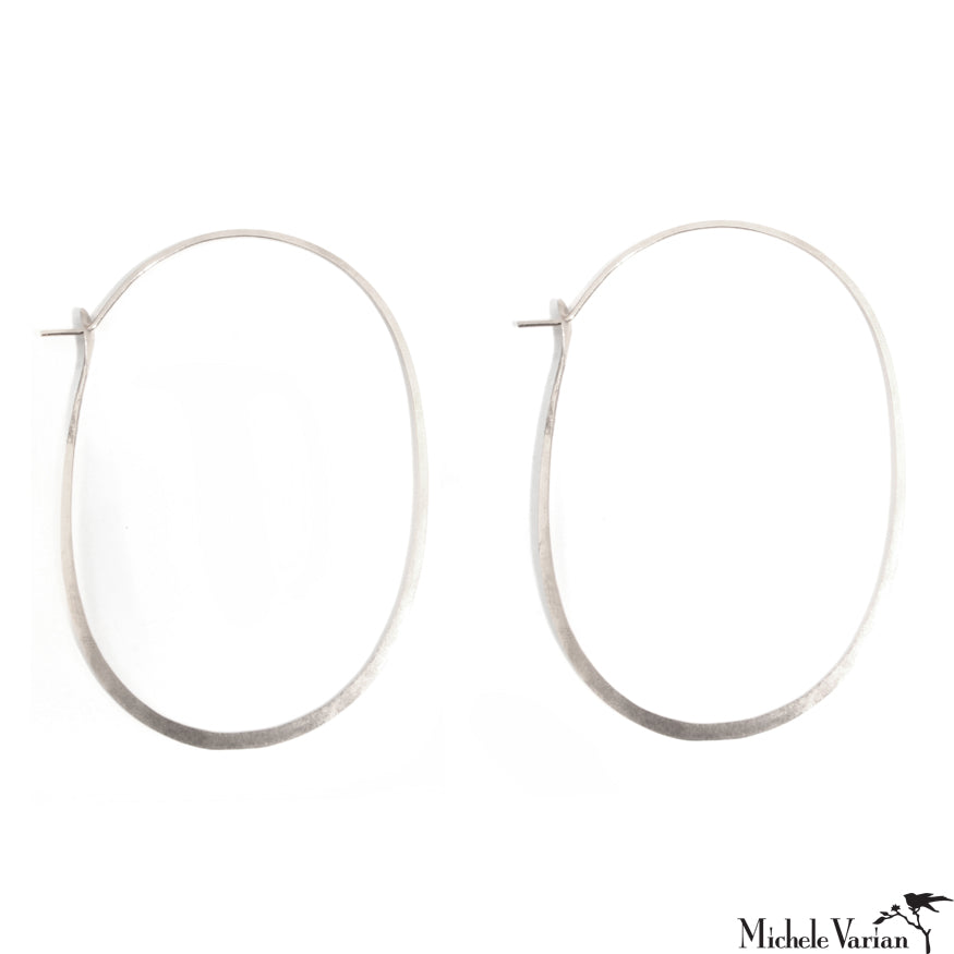 Oversized Oval Sterling Silver Hoops XL