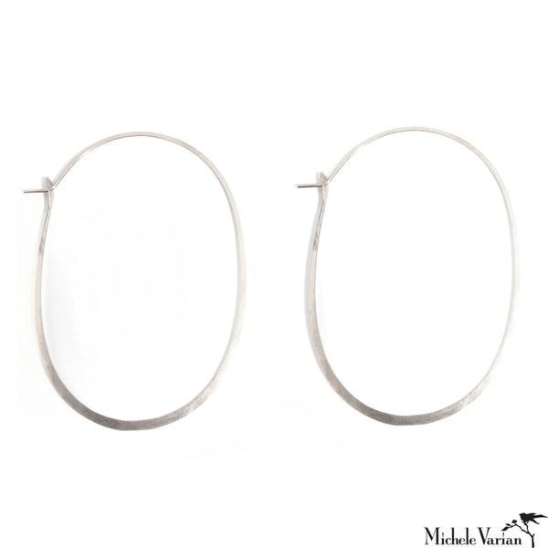 96dc10ee6 Oversized Oval Sterling Silver Hoops XL