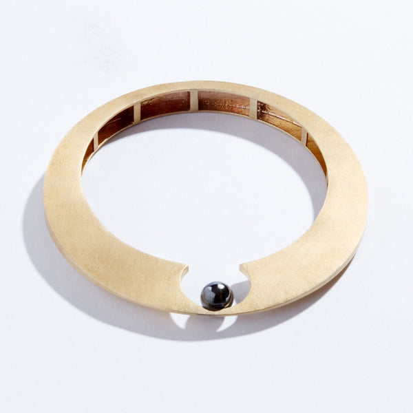 Brass and Hematite Lunar Cuff