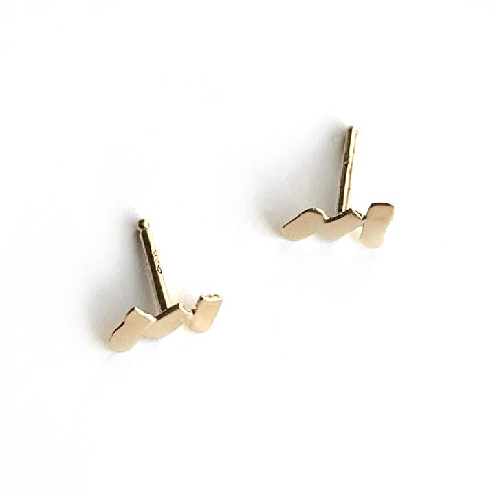 Gold Zig Zag Stud Earrings