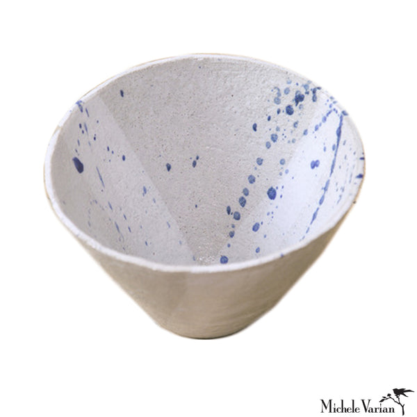 Large White with Cobalt Oxide Splatter Clay Bowl
