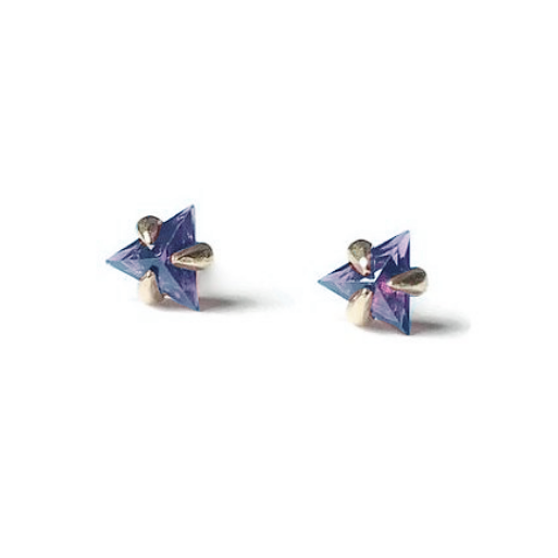 Trillion Shape Amethyst Gold Studs