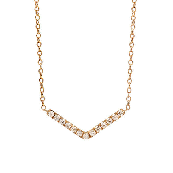 Pave Diamond Gold Arrow Necklace
