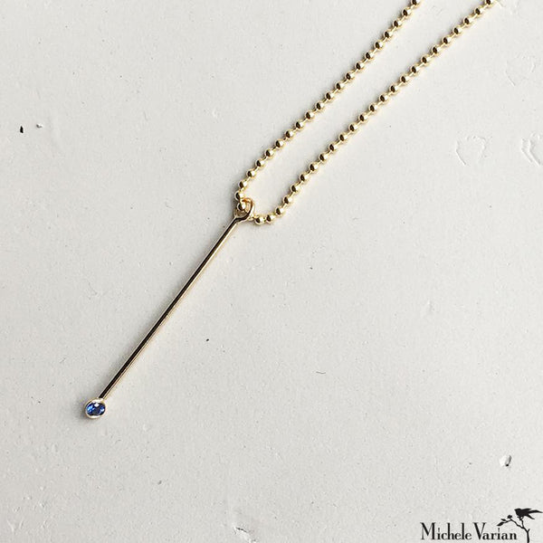 Ball Chain Bar Pendant Sapphire Gold Necklace