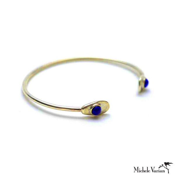 Minimal Lapis and Brass Cuff Bracelet