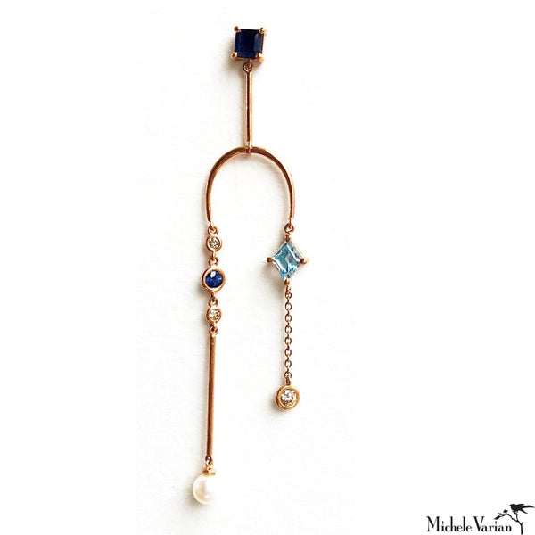 Blue Mobile Earring Single