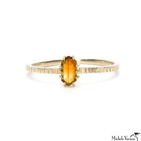 Hexagon Citrine Ring