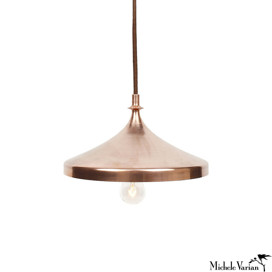 Finial Disk Pendant Light in Copper