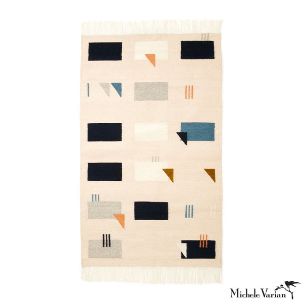 Cream Geometric Wool Woven Rug