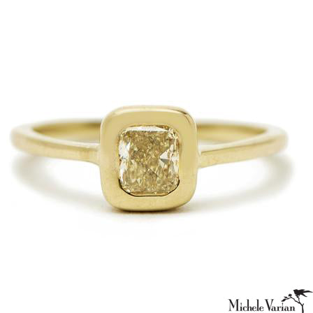 Yellow Cushion Cut Cathedral Ring